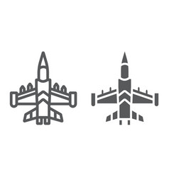 Jet fighter line and glyph icon army and force vector