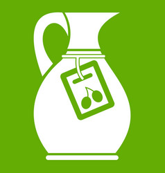 Jug with olive oil icon green vector