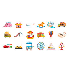 kid amusement icon set cartoon style vector image