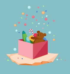 Kids toys gift box vector