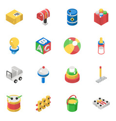 Kids toys isometric pack vector