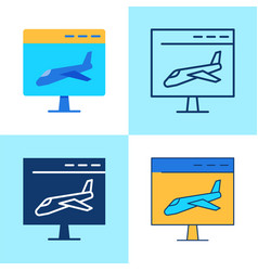 landing page icon set in flat and line style vector image
