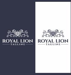 lion royal king crest logo graphic vector image