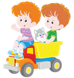 little boys with a toy truck vector image