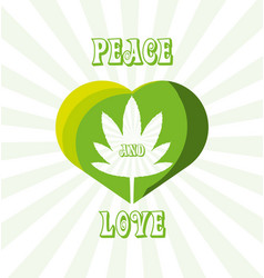 Marihuana plant peace and love vector