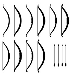 medieval bow weapon black symbols vector image
