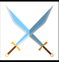 medieval sword icon and label flat style logo vector image