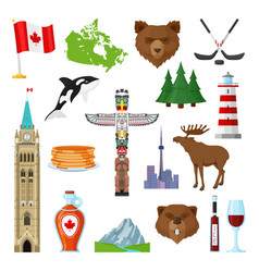 national symbols of canada set vector image