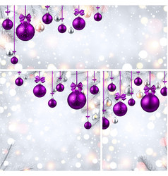 New year backgrounds with purple christmas balls vector