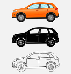 Off-road vehicle in three different styles orange vector