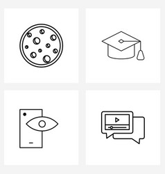 Pack 4 universal line icons for web vector