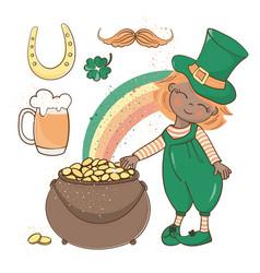 Patrick gold saint day cartoon vector