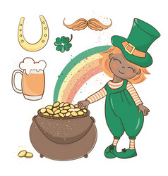 patrick gold saint patrick day cartoon vector image