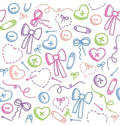 pattern with sewing elements vector image vector image