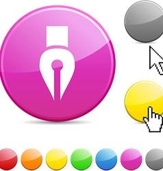 Pen glossy button vector