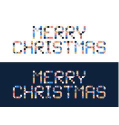 pixel art merry christmas block typography vector image