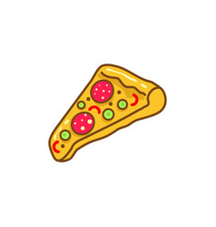 pizza slice cartoon icon vector image