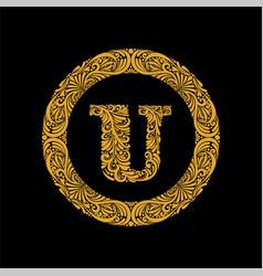 premium elegant capital letter u in a round frame vector image
