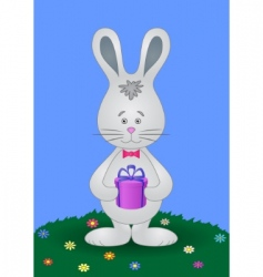 rabbit with gift vector image
