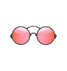 round circular hipster sunglasses with red-pink vector image