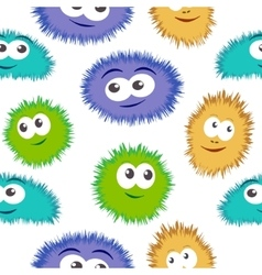 Seamless pattern bacteria with colorful monster vector image