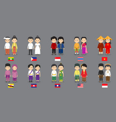 Set asean characters with traditional dress vector