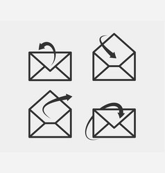 set envelop icons letter envelope icon template vector image