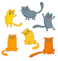 Set of cute cartoon cats in various poses vector