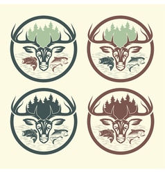 set of vintage labels fishing and hunting vector image