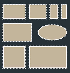 Set postage stamps on dark background vector