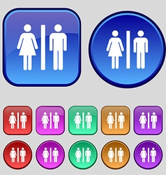 silhouette of a man and a woman icon sign A set of vector image
