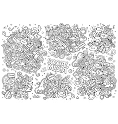 Sketchy hand drawn Doodle cartoon set of vector image