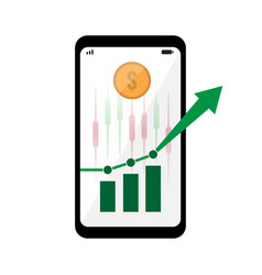 smartphone with stock market green chart on screen vector image