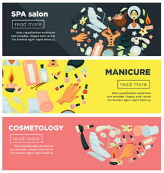 Spa salon with manicure and cosmetology procedures vector