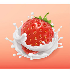 Strawberry and milk splash Fruit and yogurt vector