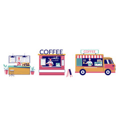 street coffee shop set flat isolated vector image