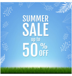 Summer sale banner with floral element vector