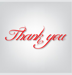 thank you text on a gray background vector image