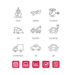 transportation icons car ship and truck signs vector image