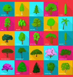 tree types icons set flat style vector image