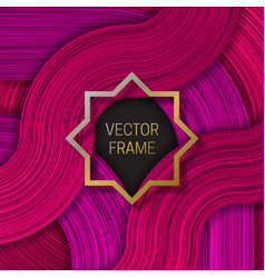 Volumetric frame on saturated background in pink vector