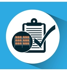 Warehouse box check list icon vector
