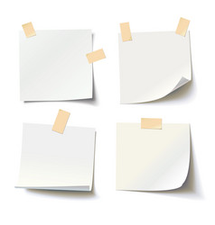 white note papers with curled corner vector image
