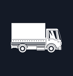 White silhouette small covered truck vector