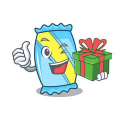 With gift candy mascot cartoon style vector