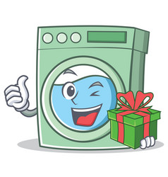 With gift washing machine character cartoon vector
