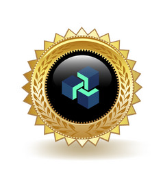 Zencash cryptocurrency coin gold badge vector