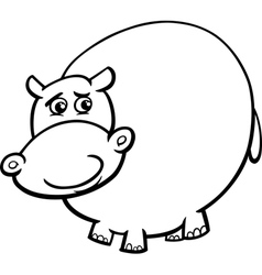 hippopotamus cartoon coloring page vector image vector image