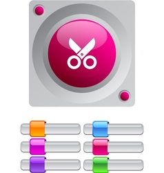 Scissors color round button vector image vector image