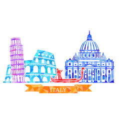 traditional symbols of italy in polygonal style vector image